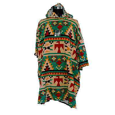 TLS Poncho Adult Cotton Rich pattern soft cotton throw over hood deep pockets