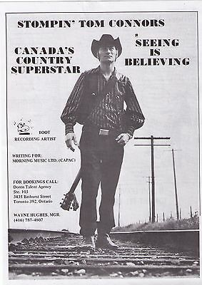 """1972 Stompin' Tom Connors """"Canada's Country Superstar"""" Trade Print Advertisement"""