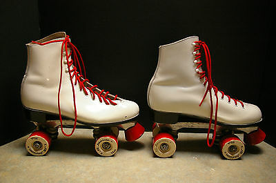Vintage White 'dominion' Roller Skates With 8 'all American Plus' Wheels Size 8