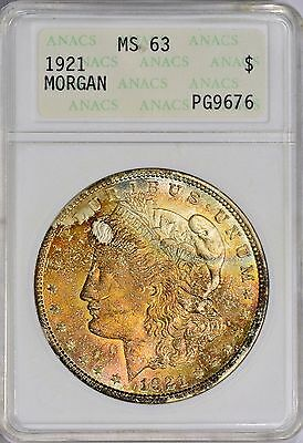 1921 MORGAN SILVER Dollar ANACS MS 63 Toned Two Sided Color Toning old holder