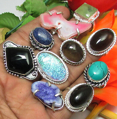 Wholesale Lot 10Pcs Lapis Lazuli,agate Gemstone 925 Sterling Solid Silver Rings