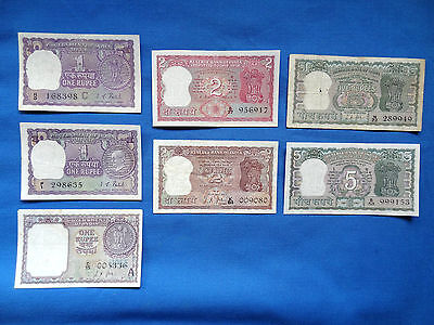 World Banknotes - India - 7 Banknotes from the 1960's & 1970's - all different