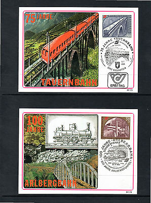 Austria. Two 1984 postcards with train themes with pictorial postmarks.