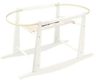 Rocking Wooden Moses Basket Stand- Antique White