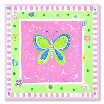 The Kids Room by Stupell Green Butterfly with Pink Border Sq