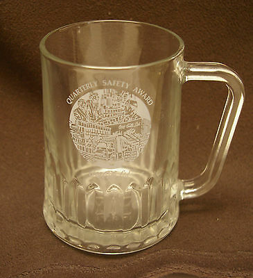 Vintage Rare Coca Cola 'quarterly Safety Award' Glass Mug