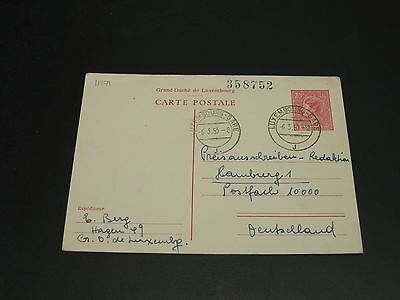 Luxembourg 1953 postal card to germany *11171