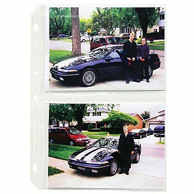 C-Line Clear 3-Hole Punched Photo Pages, Holds Four 5 x 7 Inch Photos, 11-1