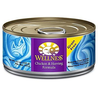 Wellness Canned Cat Food, Chicken and Herring Recipe, 5-1/2-Ounce Cans, 24-