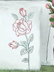 Jack Dempsey Stamped Pillowcases with White Lace Edge, Long Stem Rose, 2-Pack