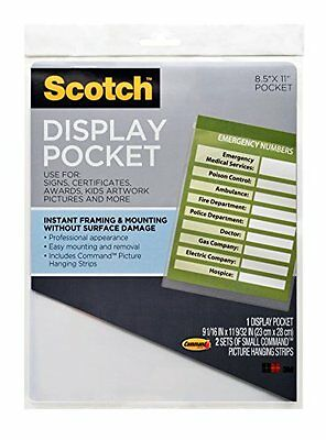 3M  Display Pocket, Removable Fasteners, 8.5 X 11 Inches, Clear Plastic (MM