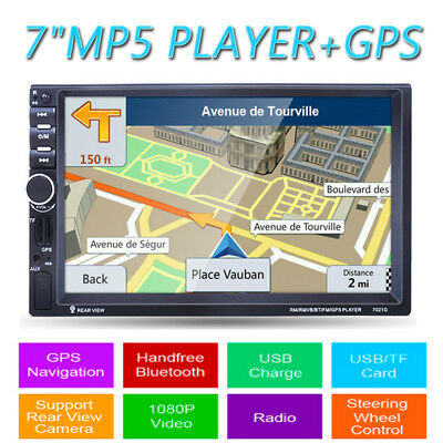 "7"" HD 2DIN Coche Estéreo MP5 Reproductor GPS Navegación Bluetooth FM AUX USB SD"