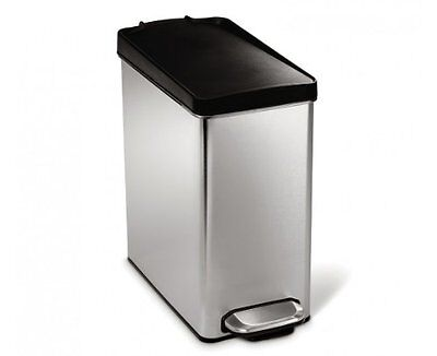 simplehuman Profile Step Trash Can, Brushed Stainless Steel, 10 Liters / 2.
