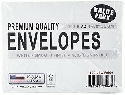 Leader Paper Products Envelopes A2 4.375-Inch-by-5-3/4-Inch 100-Pack, White