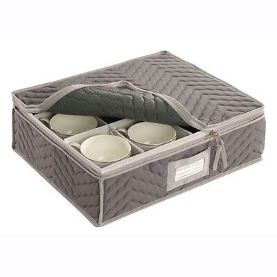 """China Cup Storage Chest - Deluxe Quilted Microfiber (Light Gray) (13""""H x 15"""
