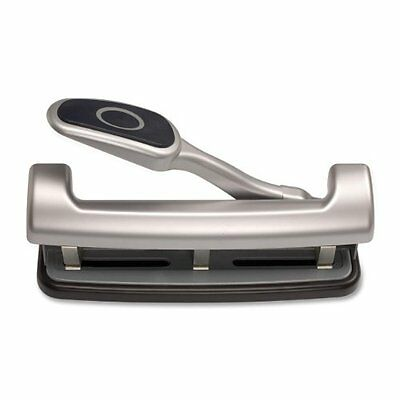 Officemate EZ Lever Adjustable Three Hole Punch, Silver, 25-Sheet Capacity