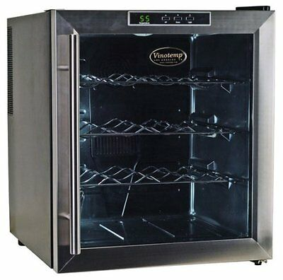 Vinotemp VT-16TEDS Thermo-Electric Digital 16-Bottle Wine Chiller, Black an