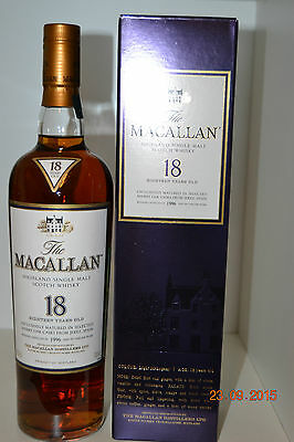 Single Malt Scotch Whisky MACALLAN 18 years old  Vintage 1996 700ml  with box