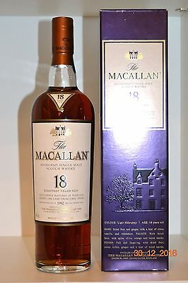 Single Malt Scotch Whisky MACALLAN 18 years old  Vintage 1992  700ml  with box