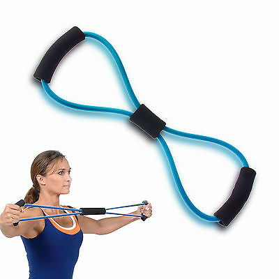 Sport Fitness 8 Shape Blue Latex Chest Expander Exercise Pull Rope