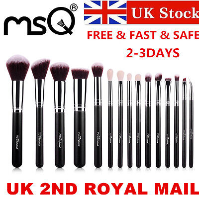 UK DELIVERY 15PCs Black Professional Makeup Brushes Sets Kits Synthetic Hair MSQ