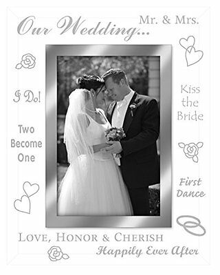 Malden Mirrored Glass Picture Frame, Our Wedding, 4 by 6-Inch