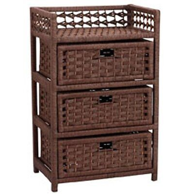 Household Essentials Hand-Woven Paper Rope 3-Drawer Chest, D