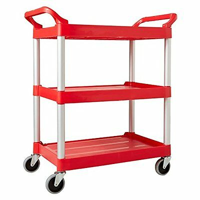 Rubbermaid Commercial 342488 Polyethylene Service Cart, 3 Shelves, Red, 200