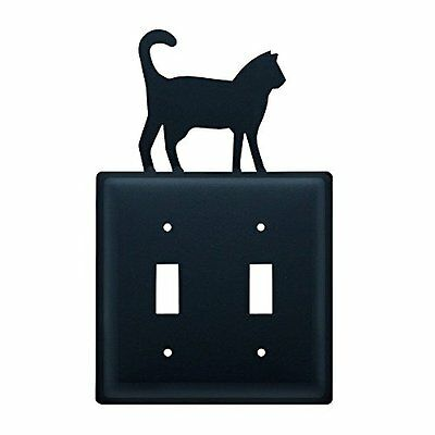 Village Wrought Iron ESS-6 Cat Switch Cover Double - Black