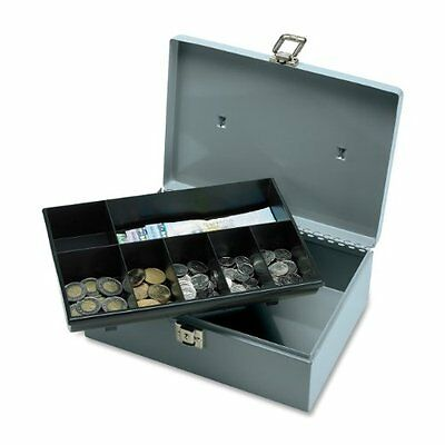 Cash Box with Latch Lock, 2 Keys, 7 Components, 11 x 7-3/4 x 4 Inches, Gray