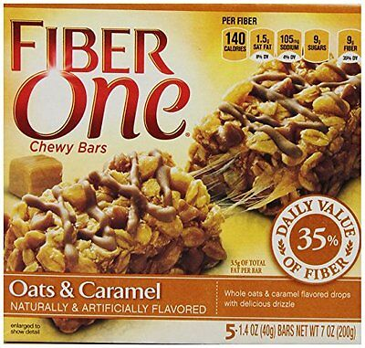 Fiber One Chewy Bars  Oats and Caramel  7-Ounce Boxes (Pack of 12)