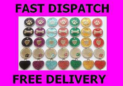 PET TAGS DOG CAT GLITTER  PERSONALISED PETs ID disc TAG Engraved FREE ENGRAVING