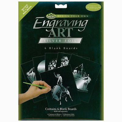 Royal Langnickel 8-Inch by 10-Inch Foil Engraving Art Blank Boards, Silver