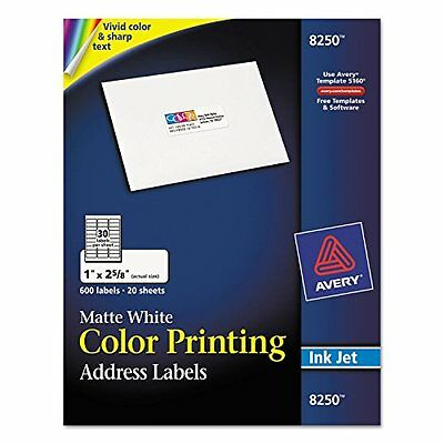 Address Label, for Color Printers, Inkjet, 1x2-5/8, Matte White, 600/Pack A