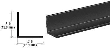 "CRL Black Electro-Static Paint 1/2"" Aluminum Angle Extrusion - 12 ft Long"