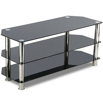 """Corner TV Stand With Bracket 32""""- 52"""" Flat Screen Black Glass Cantilever TV Unit"""