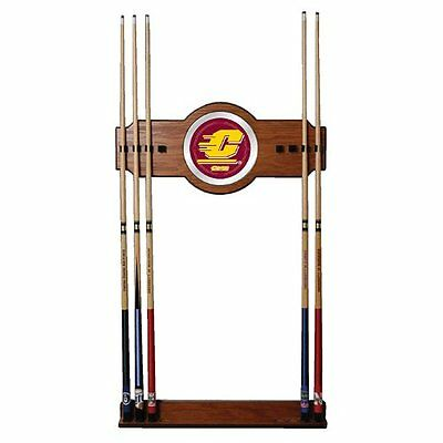 NCAA Central Michigan Wood and Mirror Wall Cue Rack