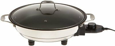 CucinaPro 1653 Stainless Steel Electric Skillet 12 Inch - Non-Stick Interior