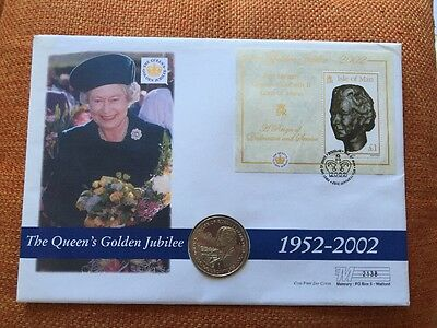 The Queen's Golden Jubilee 2002 Isle Of Man M/s + Gibraltar 1 Crown Coin Cover