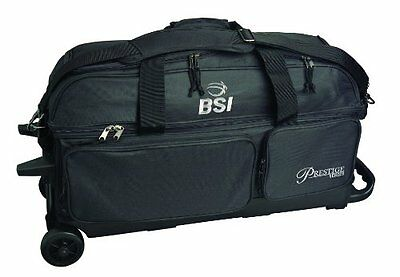 BSI Prestige Series Triple Ball Roller Bag (Black/Silver Logo)