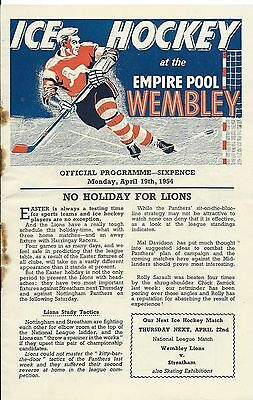 Ice Hockey, Programme For Wembley Lions V. Nottingham Panthers At Wembley, 1954