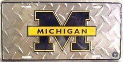University of Michigan Diamond License Plate Tin Sign 6 x 12
