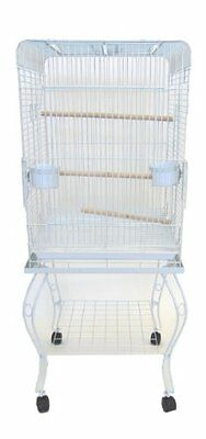 YML 20-Inch Open Top Parrot Cage with Stand, White