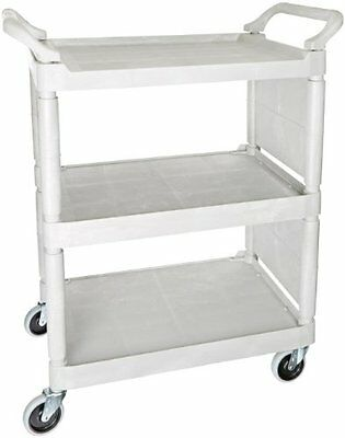 Rubbermaid Commercial Polyethylene Service Cart with End Panels, 3 Shelves,