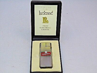 Brushed Chrome ''carlton'' Electronic By Lucienne Cigarette Lighter Original Box