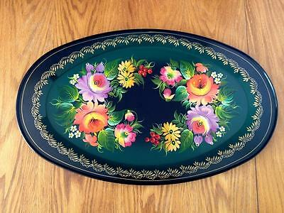 "Zhostovo Russian Metal Tray 20"" Black Green Bouquets Floral Tole Folk Art Signed"