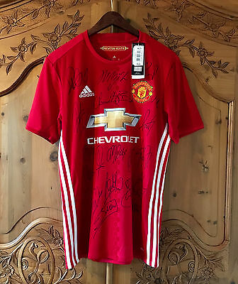 Manchester United 2016/17 Shirt, Signed By Entire Squad, Genuine Autographs Coa