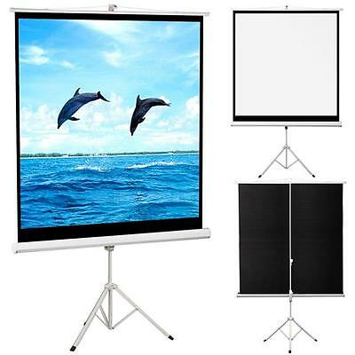 "125x125cm 70"" Tripod HD TV Manual Projector Projection Screen Movie Presentation"