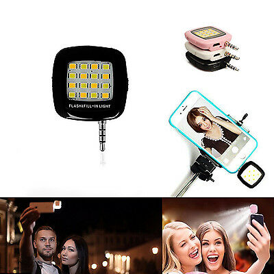 FLASH FILL LED LIGHT SELFIE LUCE PER FOTOCAMERA SMARTPHONE 3.5mm - NERO
