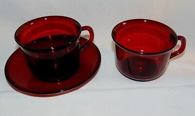 Vintage Acoroc France Ruby Red 2 Cups  1 Saucer